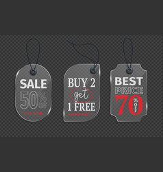 realistic glass price tag stock glass label paper vector image