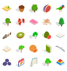 Recycling timber icons set isometric style vector