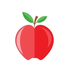 Red apple with branch and leaves vector