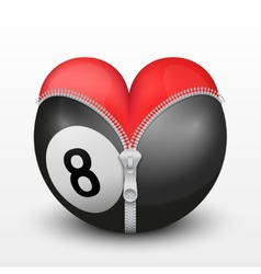 Red heart inside billiard ball vector image