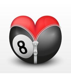 Red heart inside billiard ball vector