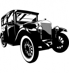 Retro car black and white vector