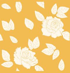 Rose flowers leaves seamless pattern yellow orange vector