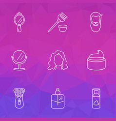 Salon icons line style set with curly hair vector