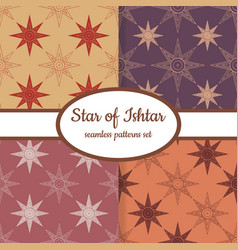 Seamless patterns with sumerian star ishtar vector