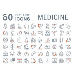 Set flat line icons medicine vector