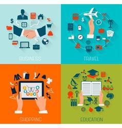 Set of flat design backgrounds for education vector