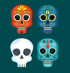 set skull masks to mexico day of the dead event vector image