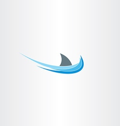 Shark sign sea water wave icon vector