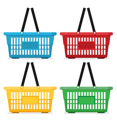 Shopping basket flat color set isolated on white vector