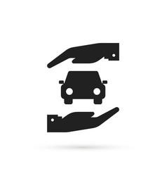 Simple car insurance icon with arm vector