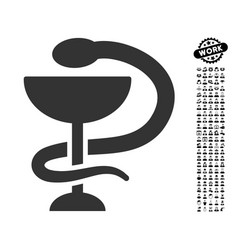 Snake cup icon with work bonus vector