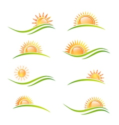 Sun at Landscape Collection vector