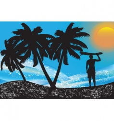 surfer landscape vector image