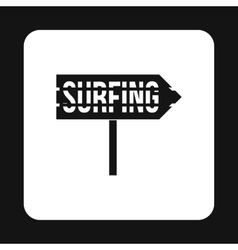 Surfing direction sign icon simple style vector