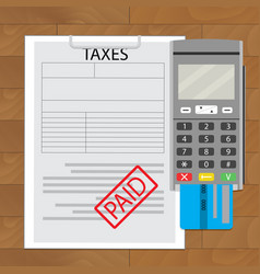 Tax paid top view vector