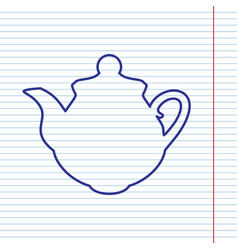 Tea maker kitchen sign navy line icon on vector