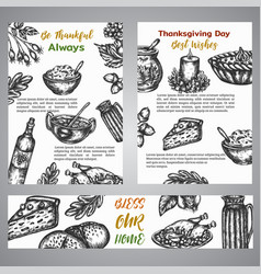 thanksgiving day broshure collection hand drawn vector image