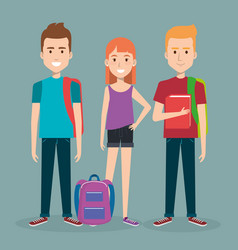 Three students school standing together holding vector