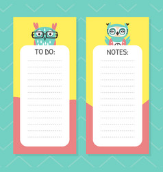 To do list page for notes with cute funny hand vector