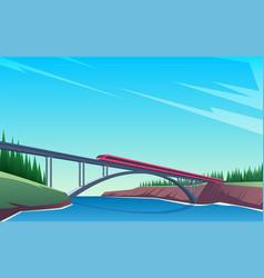 train rides over bridge 02 vector image