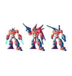 Transformer battle robots cartoon set vector