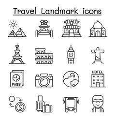 travel landmark icon set in thin line style vector image