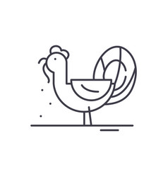 turkey line icon concept turkey linear vector image