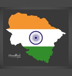 uttarakhand map with indian national flag vector image