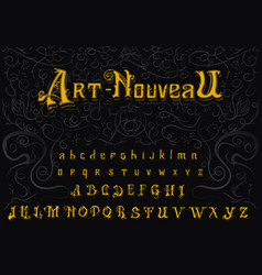 Victorian alphabet in vintage style antique old vector