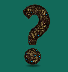 vintage romantic question mark with golden flowers vector image