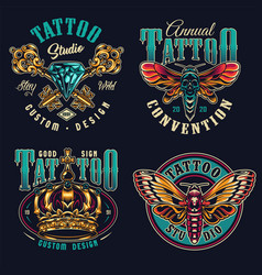 vintage tattoo studio colorful prints vector image
