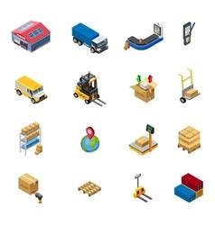 Warehouse Isometric Icons Set vector