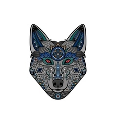 Wolf head in ethnic boho style vector image