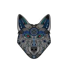Wolf head in ethnic boho style vector