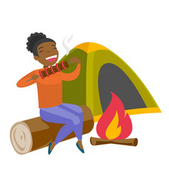 Woman sitting on log near campfire in the camping vector