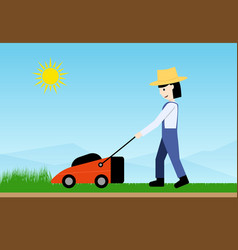 Woman use lawn mower side view flat art vector