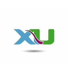 XU negative space letter logo vector