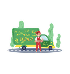 Young courier standing near food delivery track vector