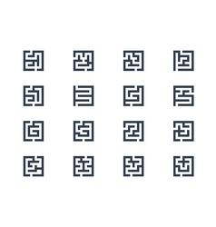 Abstract maze symbols vector image