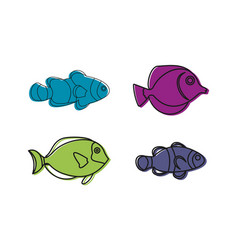aquarium fish icon set color outline style vector image