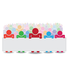crowd holding label vector image vector image