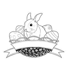 easter bunny rabbit in basket vector image
