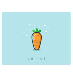 flat icon of carrot cute vegetable cartoon vector image