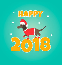 holiday dachshund perfect for the year of dog vector image vector image