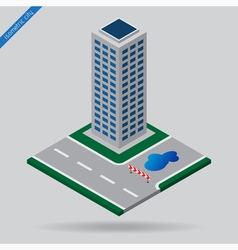 isometric city - junction detour and skyscraper vector image