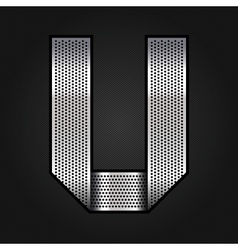 Letter metal chrome ribbon - U vector image vector image