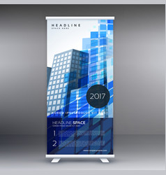 blue abstract standee template design vector image vector image
