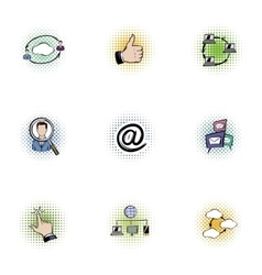 Data icons set pop-art style vector image vector image