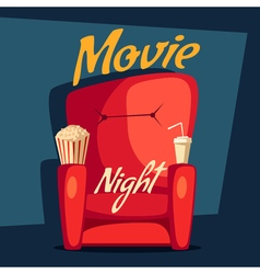 Movie night Home cinema watching Cartoon vector image vector image